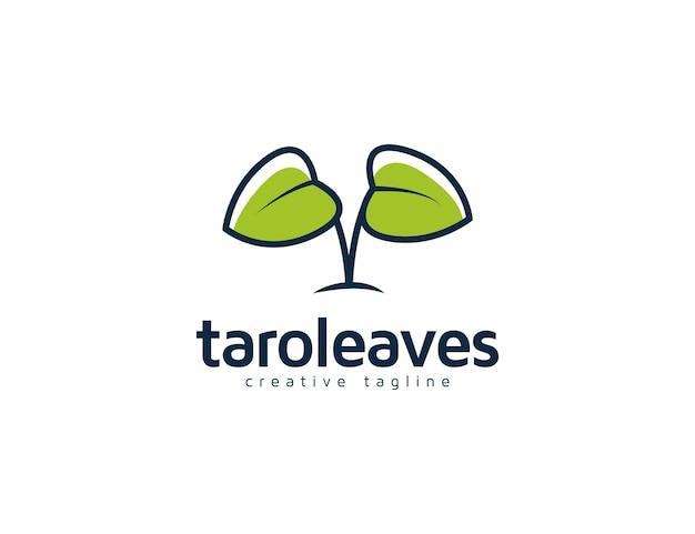 Illustrazione del logo delle foglie di taro verde