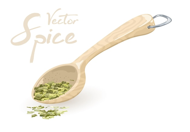 La spezia verde del dragoncello si trova nella misurazione del cucchiaio di legno o di plastica