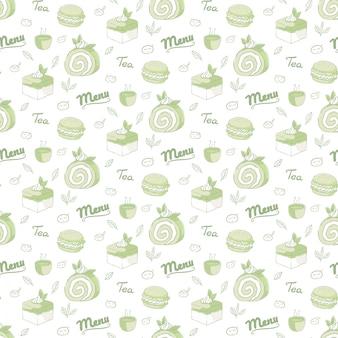 Modello senza cuciture di dessert al tè verde
