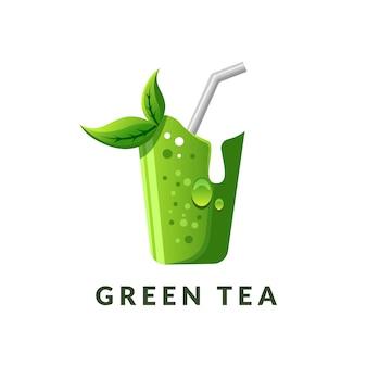 Modello di logo di bevanda di tè verde