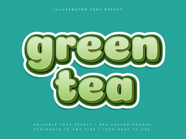 Effetto del carattere di stile di testo sano del tè verde