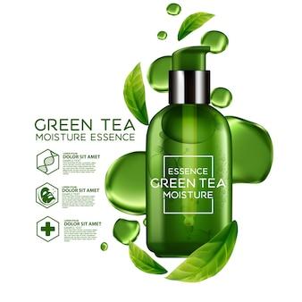 Cosmetici di concetto di siero di tè verde per la pelle