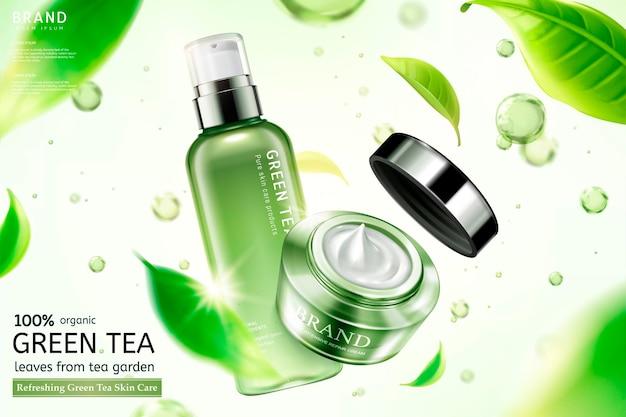Crema e spray per la cura della pelle al tè verde con foglie di tè volanti ed elementi a goccia d'acqua in illustrazione 3d