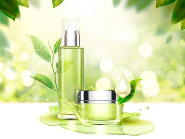 Illustrazione per la cura della pelle del tè verde con barattolo di crema e flacone spray in 3d