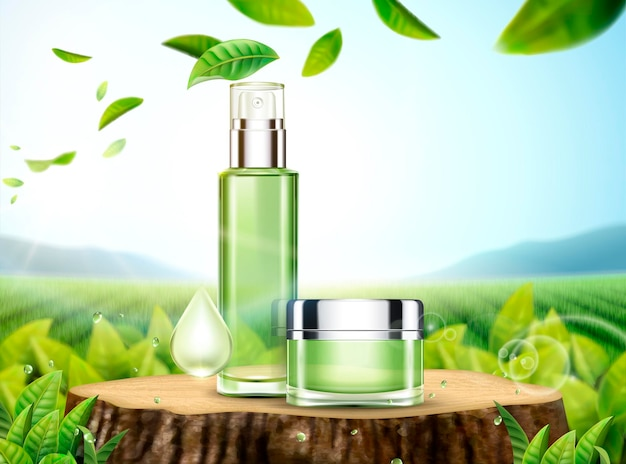 Illustrazione per la cura della pelle del tè verde con prodotti posizionati sul tronco d'albero tagliato e foglie che volano nel cielo in 3d