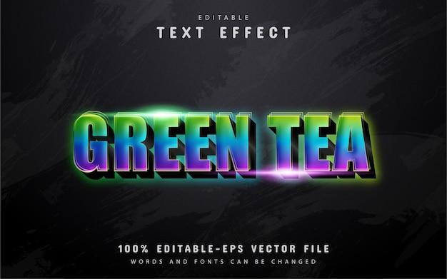 Testo di tè verde, effetto di testo in stile sfumato 3d