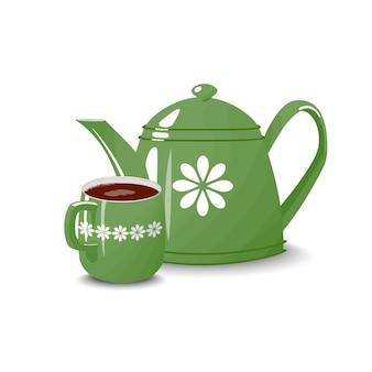 Teiera verde una tazza isolato bianco