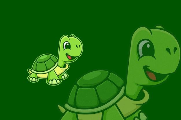 Illustrazione del fumetto del fronte felice della tartaruga verde della tartaruga Vettore Premium