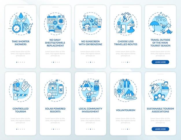 Schermata della pagina dell'app mobile per l'onboarding del turismo verde con concetti. nessuna procedura giornaliera per la sostituzione degli asciugamani 10 passaggi istruzioni grafiche.