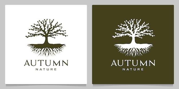 Albero verde autunno autunno natura foresta logo design