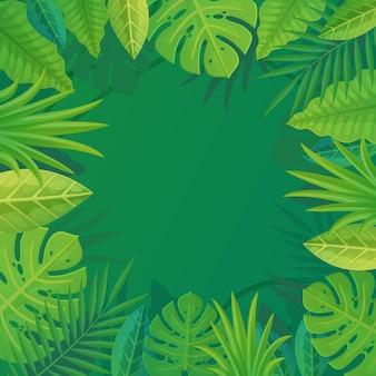 Sfondo verde tropicale con copia spazio