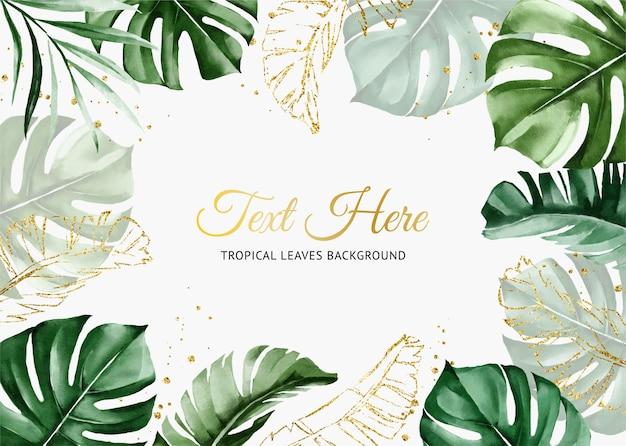 Sfondo verde acquerello tropicale