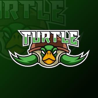 Modello di progettazione di logo di gioco di mascotte ninja tartaruga verde per il team Vettore Premium