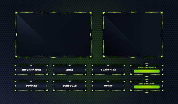 Modello di progettazione del set di pannelli verdi twitch