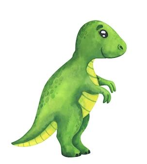 Un tirannosauro verde isolato su bianco