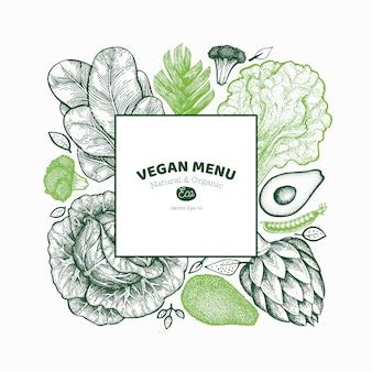 Modello di sfondo di verdure verdi