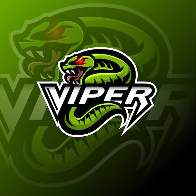 Modello di logo della mascotte serpente vipera verde