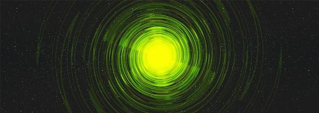 Buco nero del virus verde sullo sfondo dell'universo cosmico