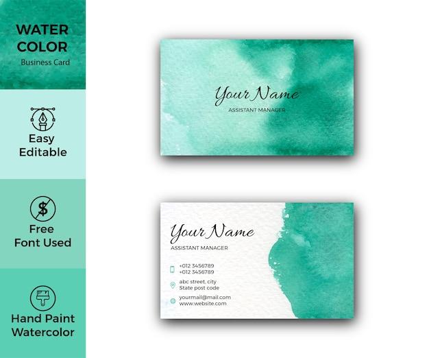 Modello di biglietto da visita aziendale artistico dell'acquerello verde