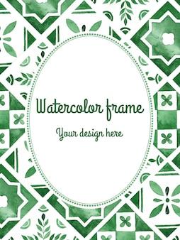 Cornice verde acquerello in stile mediterraneo
