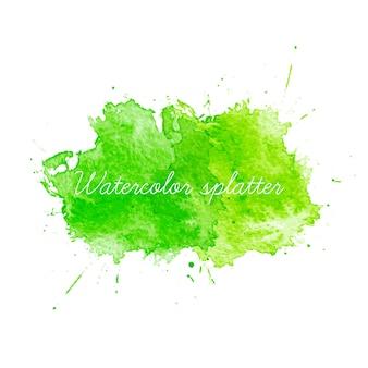 Splatters verde dell'acquerello. illustrazione