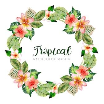 Corona tropicale estiva dell'acquerello verde