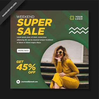 Modello di post sui social media per la promozione della vendita eccellente del fine settimana verde