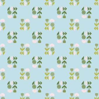 Fiori colorati verdi e bianchi e modello senza cuciture arcobaleno in stile disegnato a mano.