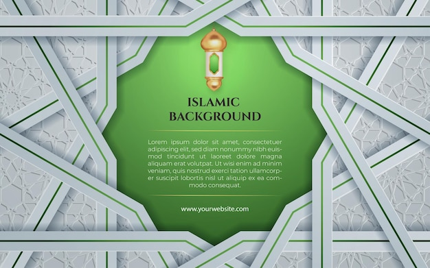 Sfondo islamico bianco verde con laterna per eid mubarak e modello di banner ramadan post