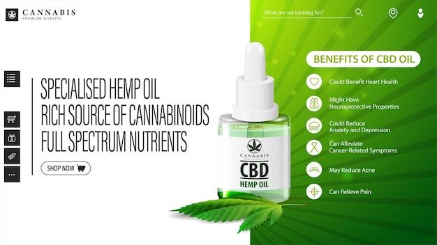 Banner web verde e bianco con una bottiglia di olio di cbd medico e foglia di canapa.