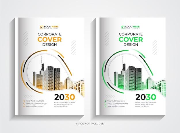 Set di design per copertine di libri aziendali creativi verdi e gialli