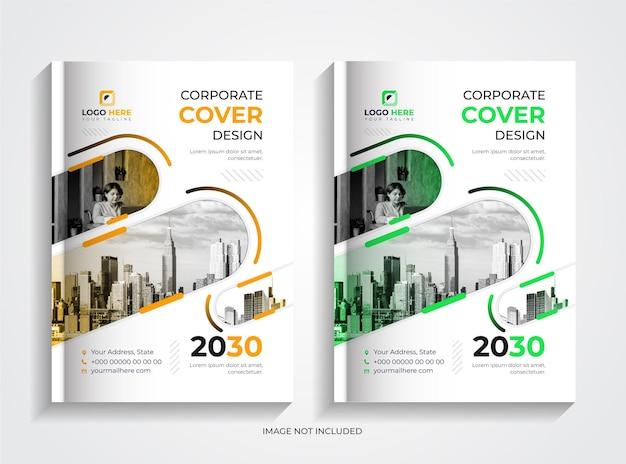 Set di design per copertine di libri aziendali semplici verde e giallo