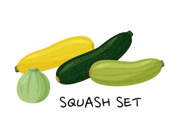 Set di zucche verdi e gialle isolato su sfondo bianco. collezione realistica.