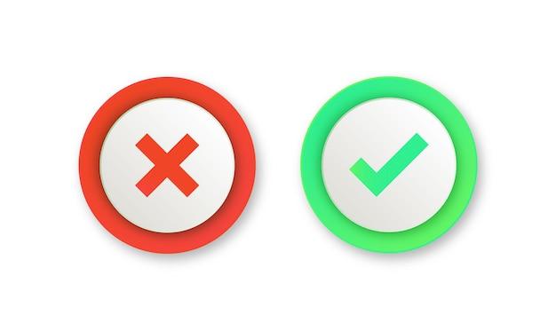 Verde sì e rosso nessun pulsante di spunta o icone approvate e rifiutate in un cerchio rotondo