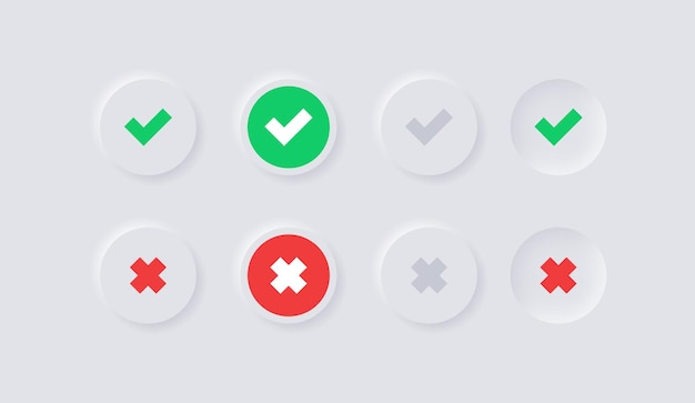 Verde sì e rosso nessun segno di spunta o icone approvate e rifiutate nel cerchio bianco del neumorfismo
