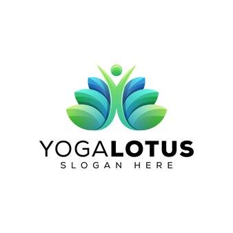 Modello verde di progettazione di logo di salute della gente del loto di yoga