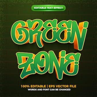 Modello di effetto testo modificabile 3d graffiti zona verde