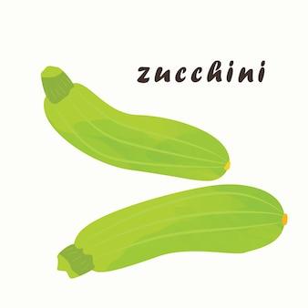 Zucchine verdi su sfondo bianco. illustrazione vettoriale. l'elemento isolato sono le zucchine. verdura, cibo sano.