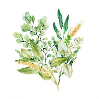 Mazzo decorativo verde, composto da foglie verdi fresche