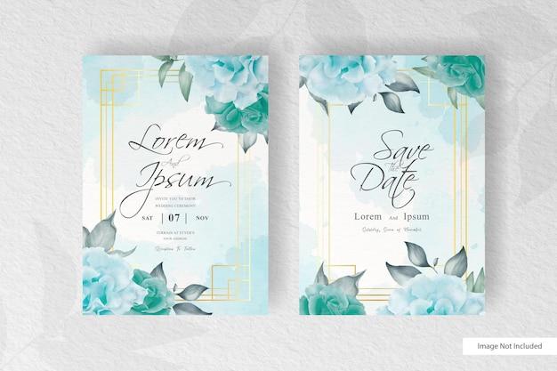 Verde acquerello e disposizione floreale modello di carta dell'invito di nozze