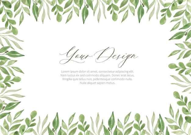 Cornice del paesaggio dell'acquerello verde