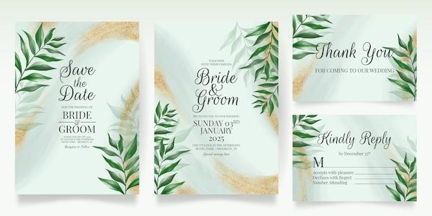 Modello di carta di invito matrimonio verde con foglie di acquerello glitter oro