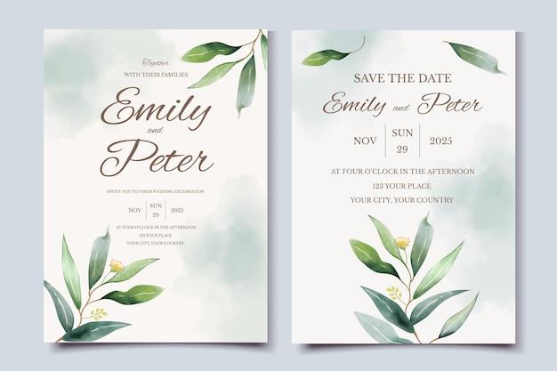 Modello di carta di invito matrimonio verde con foglie di eucalipto dell'acquerello