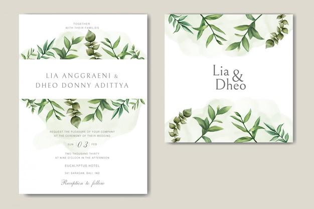Carta di invito matrimonio verde con fascio di foglie