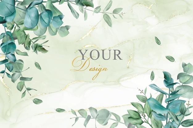 Modello di progettazione dell'invito di nozze verde con eucalipto disegnato a mano e sfondo di inchiostro alcolico