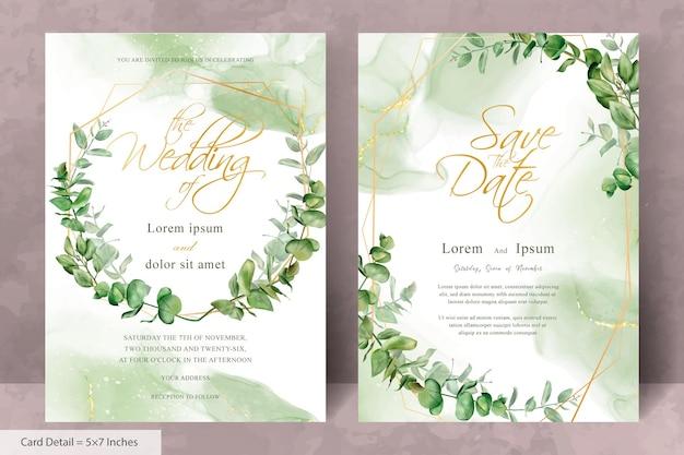 Modello di invito a nozze nel verde con eucalipto geometrico e disegnato a mano