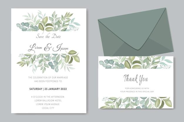 Modello di invito a nozze nel verde