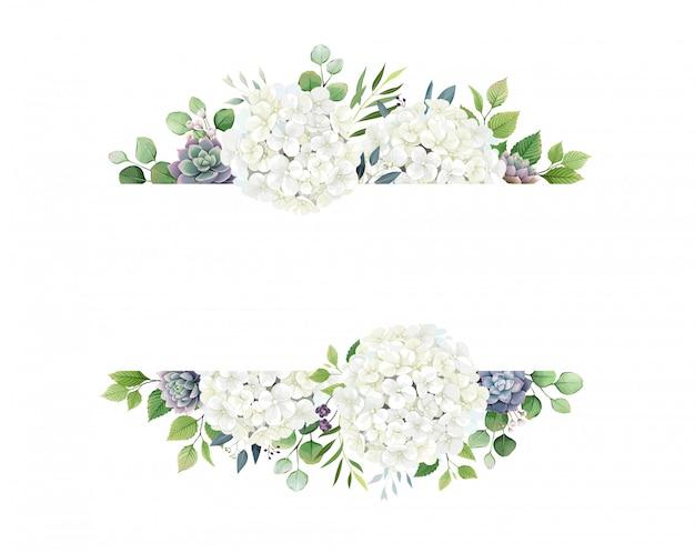 Vegetazione, ortensia bianca e bordo cornice succulenta