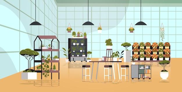 Fiori in vaso di piante da serra sugli scaffali aranceto o negozio floristico interno orizzontale