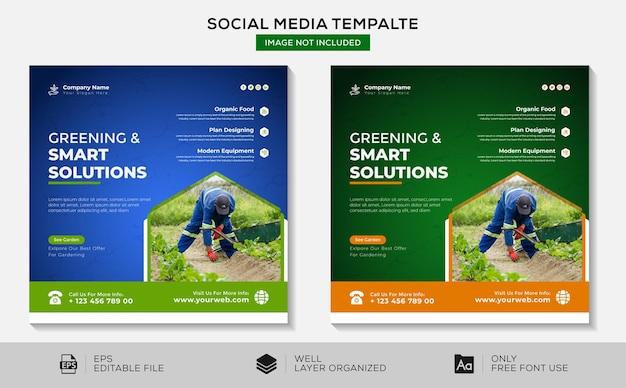 Soluzioni ecologiche e intelligenti modello di progettazione di post per social media su instagram